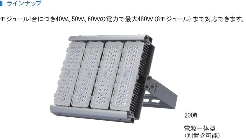 ラインナップ モジュール1台につき40W、50W、60Wの電力で最大480W(8モジュール)まで対応できます。